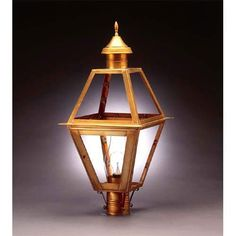 Verdi Gris Clear Post Mount Lantern - (In VG-Verdi Gris)