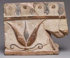 Architectural tile fragment, 6th century b.c.  Greek, Lydian; Excavated at Sardis  Terracotta with red and black painted decoration