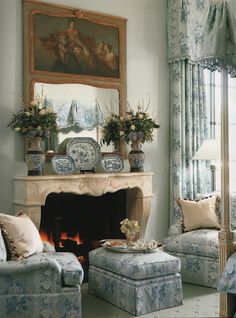 Cozy Fireplace seating Brunschwig and Fils via the enchanted home