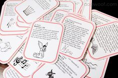 Advent Calendar cards using Bible verses. Check these cards out, they are awesome and I can put them in our advent calendar to read each day leading up to Christmas! Advent Activities, Christmas Activities, Christmas Printables, Christmas Traditions, Christmas Crafts, Christmas Ideas, Christmas Nativity, Christmas Paper, Christmas Inspiration