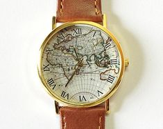 The World in Full Bloom Map Floral Watch Vintage por FreeForme