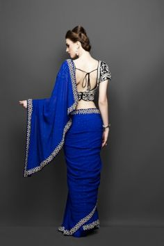 saree blouse ideas | Emerald Blue Sari