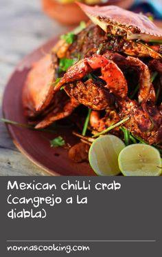 Mexican chilli crab (cangrejo a la diabla) Crab Pasta Recipes, Chilli Recipes, Shellfish Recipes, Avocado Recipes, Seafood Recipes, Thai Pasta, Mexican Chilli, Avocado Leaves, Best Chili Recipe