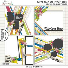 Paper Play #17 | Templates by Akizo Designs - for Digital Scrapbooking Layout / Page