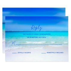 Chic tropical watercolor summer wedding rsvp card trendy gifts blue paradise beach wedding rsvp card stopboris Images