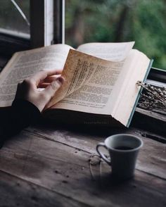The simple happiness from a good book and a hot drink ❤☕