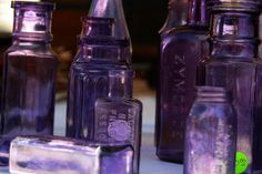Charming old kitchen glass turns purple with age when manganese, a glass making element, for stability oxidizes in the sun.