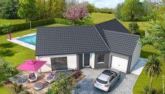 Plan maison moderne Bleuet - maison familiale Maisons Clair Logis Architecture, How To Plan, Outdoor Decor, Home Decor, Extension, Villas, Sims 4, Pin Up, Pool Designs
