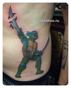 TMNT tattoo. Turtle ninja tattoo. Color tattoo. Tattoo by Dmitry Rechnoy (Re4noy). XKtattoo studio. http://www.xktattoo.ru
