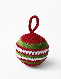 Stripey bauble tree decoration (knitted flat)