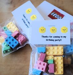 Lego candy- not a fan of candy at parties but this  I have to do!