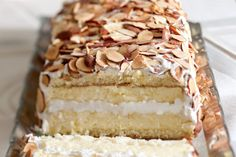 Toasted Almond Dacquoise captures the artistic flair of a boutique bakery specialty. Dacquoise Recipe, Cake Recipes, Dessert Recipes, Toasted Almonds, Almond Cakes, Just Desserts, Meringue Desserts, A Boutique, Eat Cake