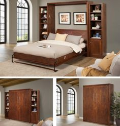 The Horizon wallbed has a clean classy look. You can choose between Oak or Alder wood and a variety of different finishes for each style. Space Saving Bedroom, Modern Murphy Beds, Bed Wall, How To Look Classy, Sofa Bed, Bedroom Furniture, Cabinet, Wood, Home Decor