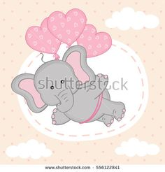 elephant is flying on balloons - vector illustration, eps