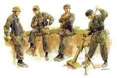 Tyske faldskræmssoldater med deres morter