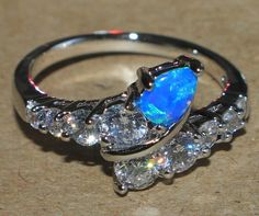 blue fire opal white topaz ring silver jewelry Sz 7.75 modern cocktail style BZ0 #Cocktail