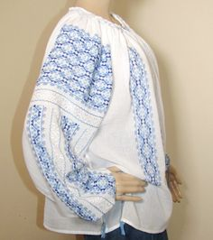 Handmade blue cotton Romanian ethnic top Peasant Blouse, Silk Thread, Hand Stitching, Hand Sewing, Ethnic, Blouses, Hands, Pure Products, Model