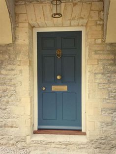 Farrow & Ball Stiffkey Blue 281 - front door painted in Stiffkey BlueFarrow & Ball Stiffkey Blue 281 - front door painted in Stiffkey BlueFarrow and ball front door paint french grey 40 ideasFarrow Cottage Front Doors, Victorian Front Doors, Front Door Porch, House Front Door, Cottage Door, Front Entry, Best Exterior Paint, Exterior House Colors, Exterior Design