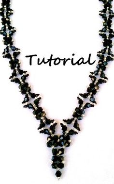 This black bi cone crystal necklace tutorial provides 40 detailed colored photos with written instructions in 27 steps on how to create an 18 inch by 1/2 in