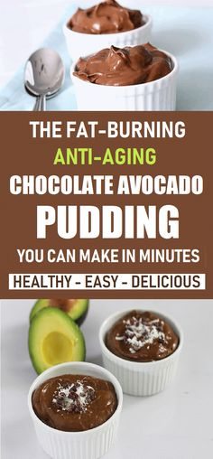 Keto Chocolate Avocado Pudding {Paleo, Vegan} Here's how to prepare the delicious avocado-chocolate pudding you'll definitely love: Healthy Diet Recipes, Gourmet Recipes, Whole Food Recipes, Healthy Snacks, Cooking Recipes, Dessert Recipes, Desserts, Healthy Menu, Recipes Dinner