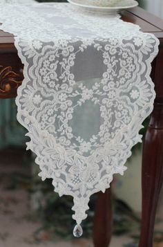 Items Similar To Handmade Wedding Tableware Ivory Lace Table Runner Embroidery On Etsy