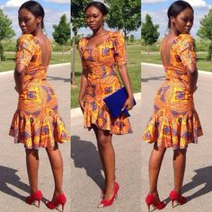 Ankara Short Gown Style - DeZango Fashion Zone ~African fashion, Ankara, kitenge, African women dresses, African prints, Braids, Nigerian wedding, Ghanaian fashion, African wedding ~DKK