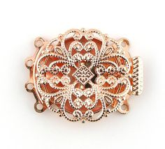 2 sets Rose Gold Plated Filigree 4 Four Multi Strands Pearl Jewelry Box Clasp Rose Gold Plates, Filigree, Trending Outfits, Brooch, Unique Jewelry, Handmade Gifts, Etsy, Vintage, Kid Craft Gifts