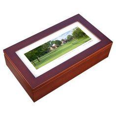Stonehouse Mahogany Cigar Humidor -- Famous Golf Courses - ARONK9H