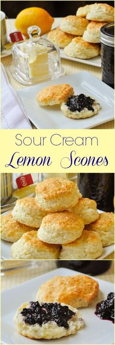Sour Cream Lemon Scones – a brunch favourite! Beautifully light and tender little lemon scones that go together particularly well with wild blueberry jam. Perfect for weekend brunch or morning coffee. Lemon Recipes, Tea Recipes, Baking Recipes, Dessert Recipes, Scone Recipes, Party Recipes, Tea Scones Recipe, Mexican Recipes, Coffee Recipes