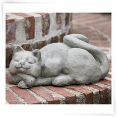 Campania International Complacent Cat Cast Stone Garden Statue