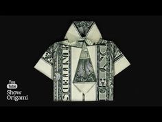 Origami shirt of the dollar How to make a shirt with a tie made of money. Origami Shirt, Origami Gifts, Dollar Origami, Origami Money Flowers, Money Origami, Money Necklace, Paper Art, Paper Crafts, Useful Origami