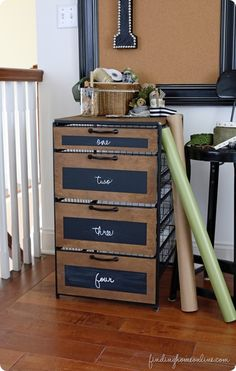DIY Home Decor | Organization | Industrial Wood and Metal Craft Room Storage {inspired by Ballard Designs}