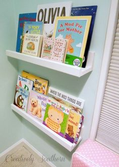 bookshelves for children s reading nook, storage ideas, Here is the finished product I used drywall anchors and screws to attach it to the wall