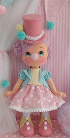 Rag doll -- Press VISIT link above for more options Circus Theme Party, Felt Fairy, Felt Toys, Soft Dolls, Diy Doll, Stuffed Toys Patterns, Amigurumi Doll, Fabric Dolls, Doll Face