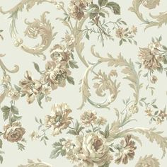 Georgetown Iridescent Rococco Floral Wallpaper by York Floral Pattern Wallpaper, Print Wallpaper, Wallpaper Patterns, Damask Wallpaper, Decoupage Vintage, Discount Wallpaper, Wallpaper Warehouse, Cheap Rustic Decor, Rose Garland
