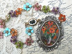necklace painting floral assemblage repurpose by lilyofthevally