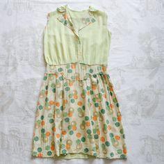 1920s-30s Olive x Apricot Silk Linen Dress#fab.#vintage #vintagefashion #vintageshop #1920s #1920sfashion #1930s #1930sfashion #vintagedress #ヴィンテージ #ヴィンテージドレス #1920sdress #1930sdress