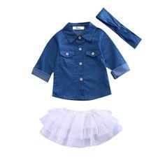 3PC Little Girls Outfit Blue Denim Button Down Long Sleeve Top White Tulle Skirt Matching Headband #buttondown #tulleskirt #photooftheday #thelittlegirlsstore #beautiful #babyfashion #fashion #follow #pinterest #summer #babyoutfit #little #girl #girls #clothes #cute #fun #pinme #pin #pinterestboard #sun #baby #babystyle #cool #addtocart