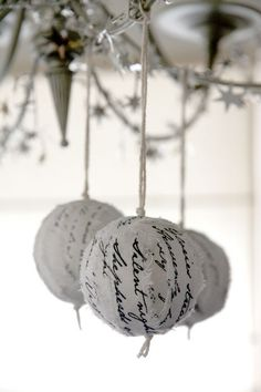 Christmas hymn ragball ornaments - White-Silver (set of 3)