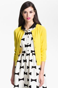 cute bow-tie dress, yellow cardi. kate spade | #katespade #dress