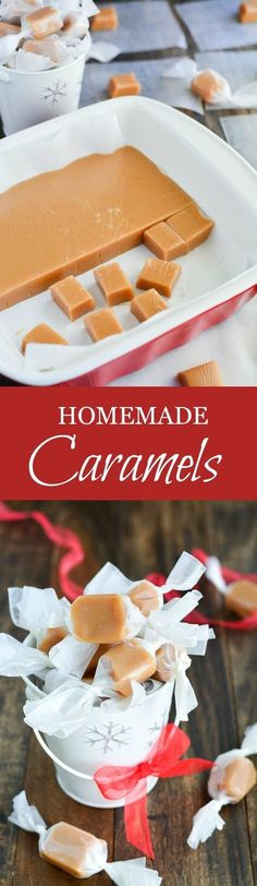 These soft, buttery, melt-in-your-mouth Homemade Caramels are the perfect sweet gift for any occasion.These soft, buttery, melt-in-your-mouth Homemade Caramels are the perfect sweet gift for any occasion. Just Desserts, Delicious Desserts, Yummy Food, Tasty, Homemade Caramels, Homemade Candies, Homemade Chocolate, Homemade Taffy, Homemade Sweets