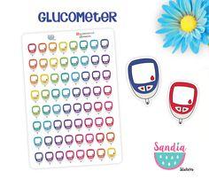 Glucometer Planner Stickers, perfect for Planners, Erin Condren, Plum Paper, Happy Planner, Filofax, Kikki.k... de SandiaStickers en Etsy