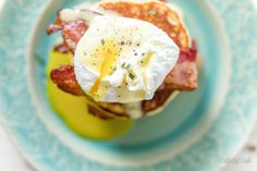 Grain-Free Savory Ricotta, Rosemary Pancake Eggs Benedict by Colorful Eats