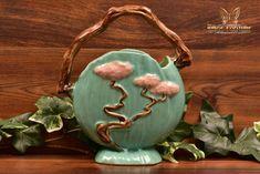 Roseville Pottery 1949 Jade Green Ming Tree Basket #508-8 - The Kings Fortune Ming Tree, Japanese Bonsai Tree, Roseville Pottery, Tree Designs, Jade Green, Pottery Art, Ceramic Art, American Art, Vintage Antiques