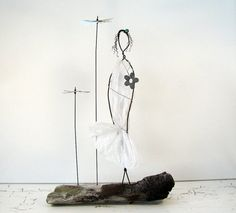 ON SALE Wire Sculpture Earth Angel  Rustic Wire Figure Art on