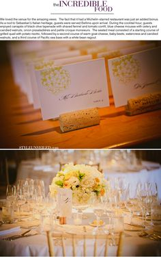 Pretty escort cards  Wedding at Auberge du Soleil