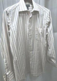 2dc80f8290 Paul Fredrick Mens Yellow Blue Stripe Long Sleeve French Cuff Shirt Size  16-35
