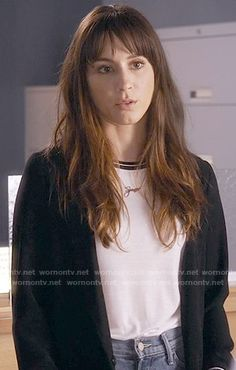 Spencer's white t-shirt with black trim on Pretty Little Liars.  Outfit Details: https://wornontv.net/59264/ #PLL