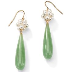 Tapered pear-cut jade droplets are suspended from a cluster of white freshwater pearls to form these gorgeous old-fashioned dangle earrings. Held in place with hook clasps, these beautiful Angelina D'Andrea earrings are crafted with 10k yellow gold.