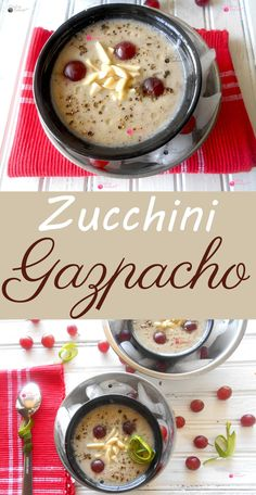 Recipe for Zucchini Gazpacho with Grapes.  Looking for a summertime soup?  This is a perfect summertime soup and has a very soothing effet.  Takes only a few minutes to make